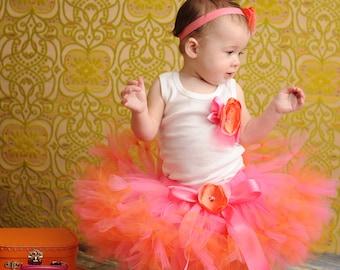 Baby Girls Birthday Tutu Dress Outfit   Strawberrie Tangerine Tresor Birthday Tutu