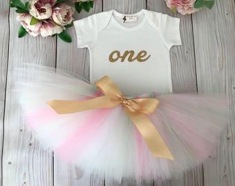 Baby Girl 1st Birthday Outfit | Baby Tutu | Tutu Dress | Birthday Dress | Baby Girls Cake Smash Outfits | Birthday Tutu | Pink Gold Mint