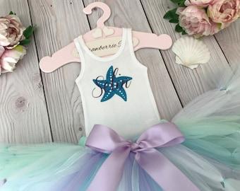 Starfish Wishes Tutu Birthday Outfit | 1st Birthday Dress | Baby Girls Tutu | Starfish Wishes | SeaShell Lavender Aqua Mint Purple