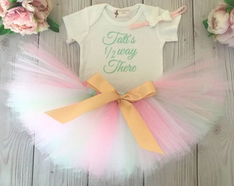 Baby Girl Half Birthday Outfit | Half Way There Birthday Tutu | Pink Mint Gold Baby Tutu | Birthday Tutu Dress Baby Girls Cake Smash Outfits