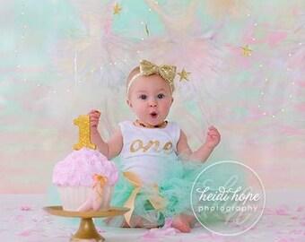 Mint Gold Birthday Outfit Birthday Outfits 1st Birthday Outfit First Birthday Outfit Cake Smash Outfits Tutu Dress Birthday Tutu