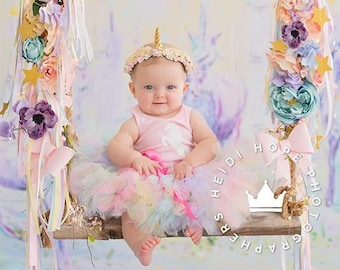 Rainbow Unicorn Baby Girl 1st Birthday Outfit Baby Tutu Tutu Dress Birthday Dress Baby Girls Cake Smash Outfits Pegasus Birthday Tutus