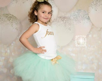 Mint and Gold Baby Girl 4th Birthday Outfit | Baby Tutu | Tutu Dress | Birthday Dress | Toddler Girl Outfits | Birthday Tutu