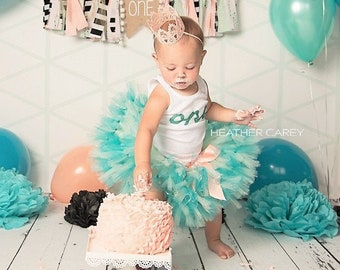 First Birthday Outfit Girl | 1st Birthday Girl | Baby Girl Tutu Dress | Cake Smash | Teal Mint Peach