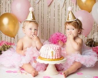 Pink 1st Birthday Tutu | Twin Tutus | Twins Birthday Dress | Pink Birthday Outfit | Baby Girls Cake Smash Tutu