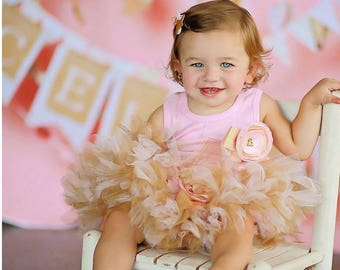 Pink and Gold 1st Birthday Dress   Tutu Outfit   Baby Girl Tutus