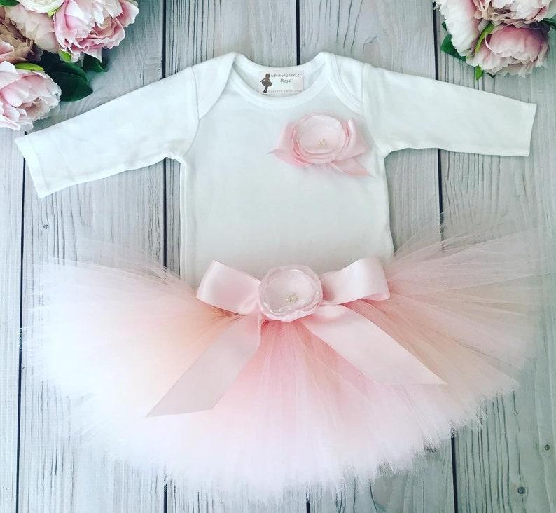 38b82c98ff7a Pink Frosting Birthday Tutu Outfit Baby Girl First Birthday