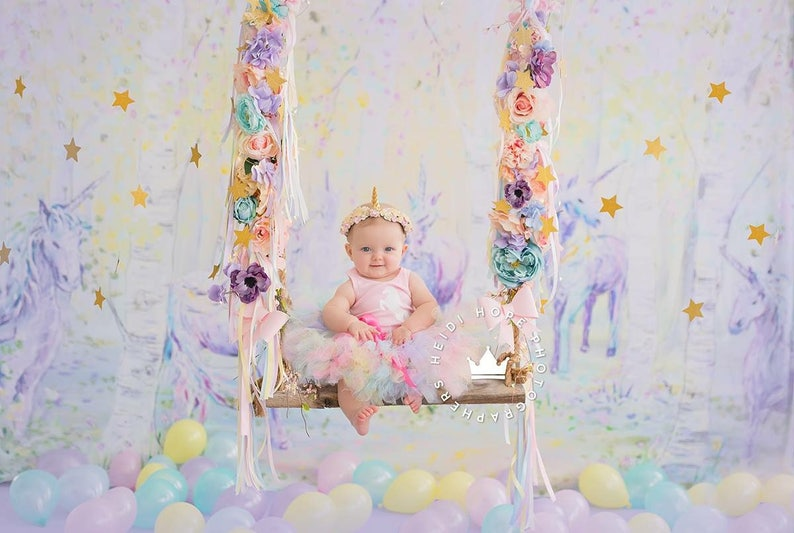 Unicorn First Birthday Outfit Girl image 0