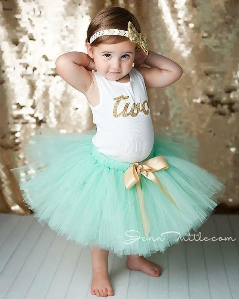 2nd Birthday Outfit Girl  Second Birthday Tutu Dress  Mint 2 image 0