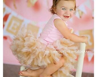 Pink and Gold Birthday Tutu Dress   Pink Tutu