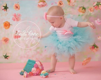 Birthday Tutu | 1st Birthday Tutu Dress | Baby Birthday Tutu | Cake Smash Tutu | Tutu Skirt | Aqua Pink Birthday Tutu
