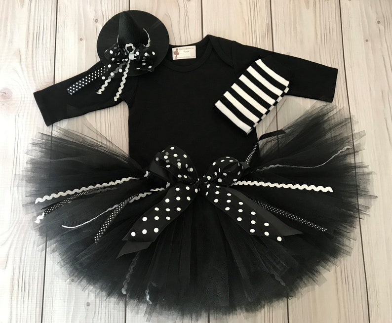 Baby Halloween Costume Girl  Black Witch Costume  Witch Tutu image 0