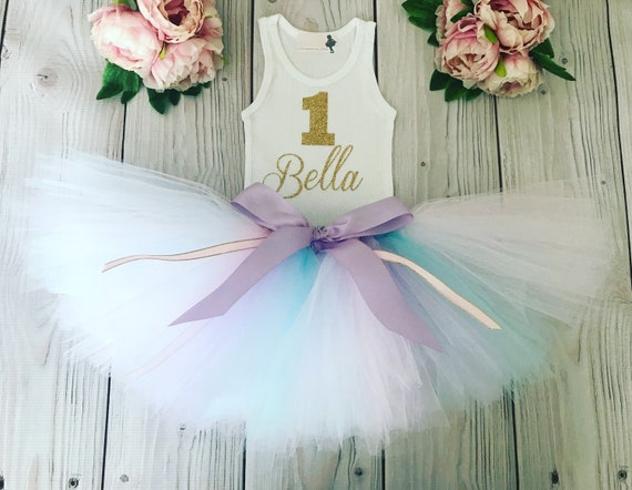 d538dfeedf First Birthday Outfit Girl | 1st Birthday Girl | Baby Girl Tutu Dress |  Aqua Blue, Gold and Lavender Cake Smash