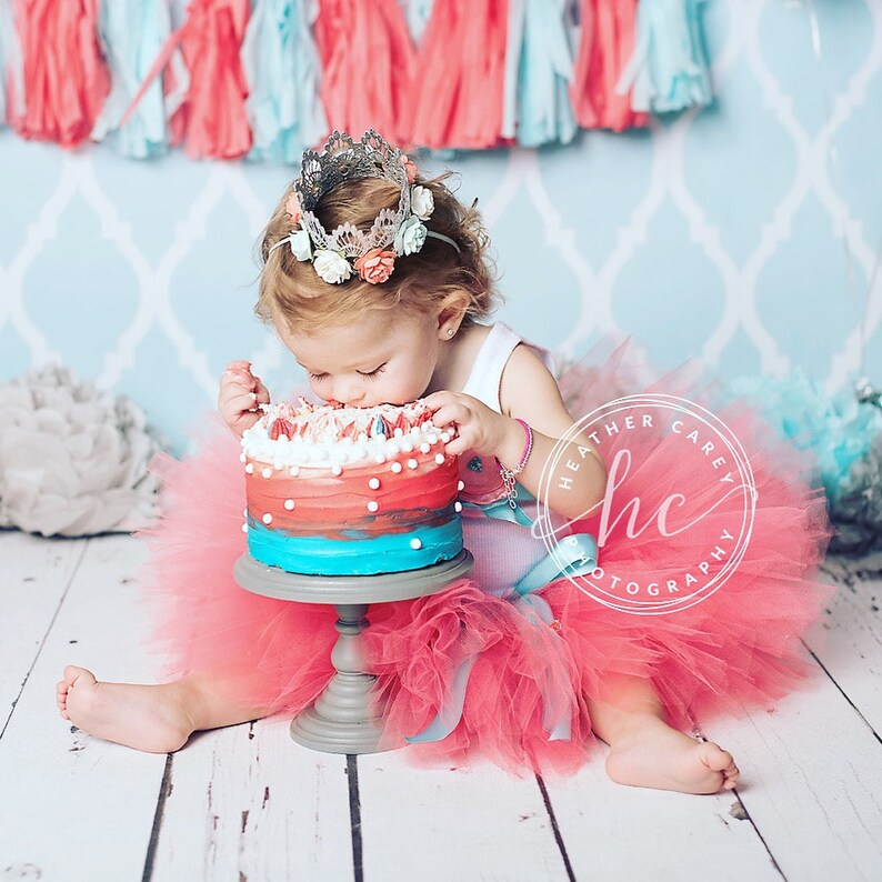 Coral First Birthday Outfit Girl  1st Birthday Girl  Baby image 0