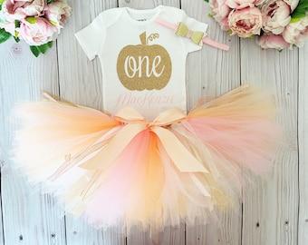 Pumpkin 1st Birthday Girl Outfit | Peach and Pink Pumpkin Cake Smash Tutu