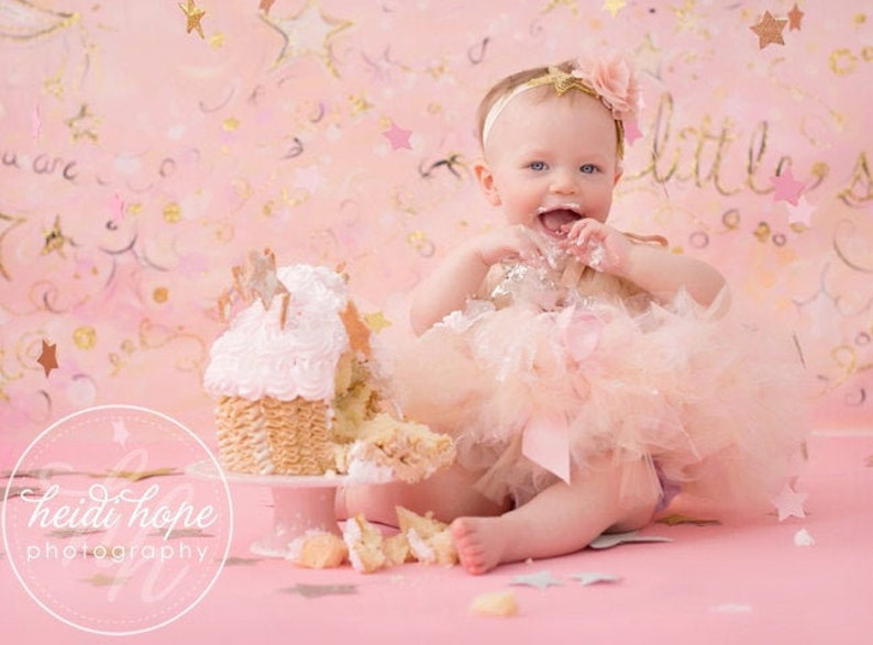 Pink and Gold First Birthday Girl Outfit  1st Birthday Tutu  image 0