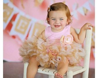 Pink and Gold Birthday Dress | Baby Girls 1st Birthday Dress | Strawberrie Rose Tutus