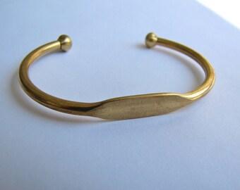 Brass Bangle Cuff Bracelet With Blank Plate  - Oval - Qty 1