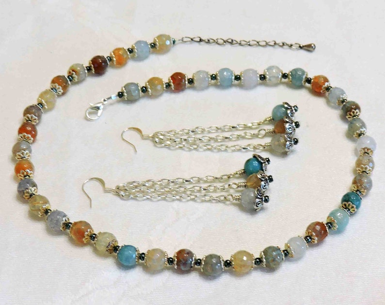 Rainbow Agate Faceted Stone Necklace With Matching Dangle Chain Earrings
