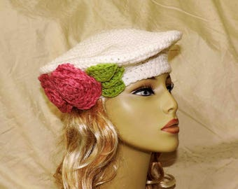 Hand Crocheted White Beret With Pink Roses and Green Leaves