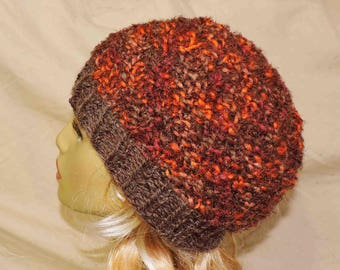 Multi Color Beanie in Warm Colors Hand Knit Orange Brown Mauve