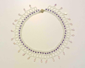 Ukranian Bead Netting Necklace in White Pink and Purple With Crystal Magnetic Closure