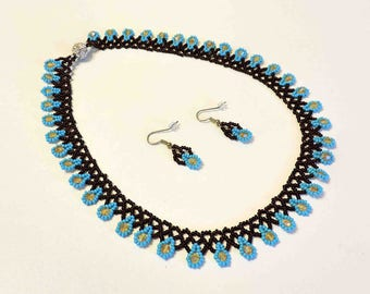 Ukranian Bead Netted Necklace and Matching Earrings Turquoise Blue and Brown