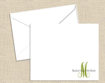 Personalized Stationery - Flat Note Cards with White Envelopes - Set of 10