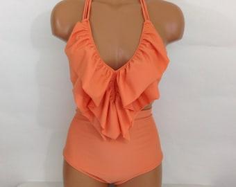 Women's High waist vintage bathing suit, ruffle top retro swimsuit