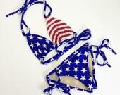 Women 39 s American flag bikini, cheeky scrunch butt USA bathing suit