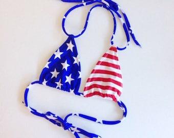 Women's American flag bikini top, bathing suit stars stripes, swimwear separates, USA swimwear