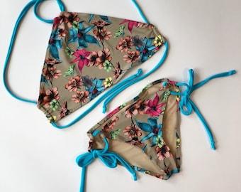 Women's Floral bikini, halter swimsuit, scrunch butt bathing suit