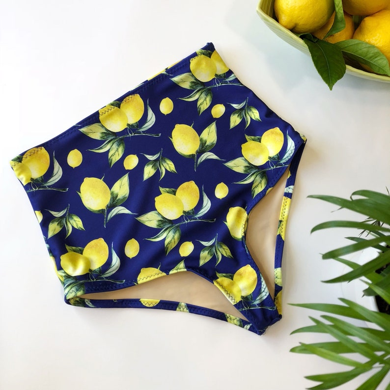 25644cb462e44 High waisted bathing suit bottom lemon print floral retro