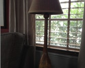Wonderful Antique Wooden Bowling Pin Table Lamp