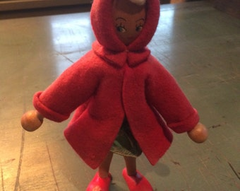 Wooden Red Riding Hood Peg Doll
