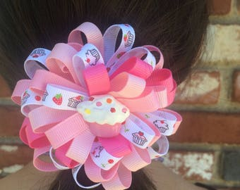 Pink Cupcake Loopy Hair Bow, Handmade Hair Bow, Birthday Hair Bow, No Slip Hair Bow, Hair Bow Clip, Handmade To Order, Girls Accessories
