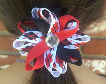 Black & Red Argyle Hair Bows, Handmade Hair Bows, Loopy Hair Bows, No Slip Hair Bows, Hair Bow Clips, Girls Accessories, Gifts for Her