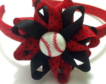 Baseball Hair Bow Headband, Red Black Hair Bow, Wrapped Headband, Sports Hair Bow, No Slip Hair Bows, Hair Bow Clips, Handmade To Order