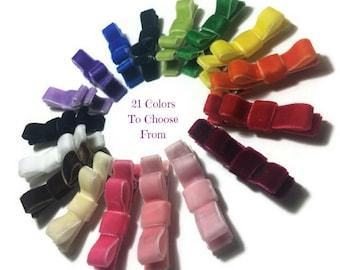 Velvet Tuxedo Hair Bows, Velvet Hair Bows, Velvet Hair Clips, Simple Velvet Bows, Velvet Ribbon Bows, Girls Velvet Bows, No Slip Bows