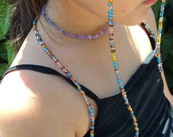 Aqua & Copper Beaded Eyeglass Holder, Eyeglass Chain, Handmade To Order, Eyeglass Lanyard, Sunglass Chain, Reading Glasses, Gifts for Her