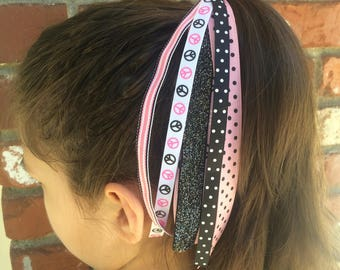 Pink Peace Sign Hearts Ponytail Holder, Ribbon Streamers, Ponytail Streamers, Pink Black Elastic, Handmade To Order, Girls Accessories
