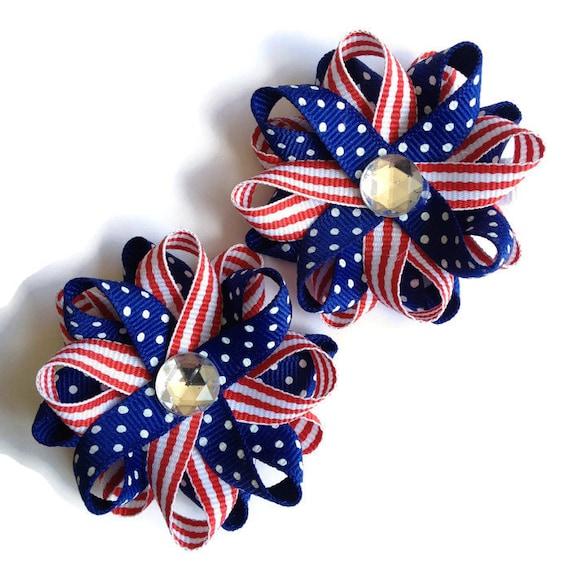276e84548888 Red White   Blue Hair Bows Handmade Hair Bows July 4 Hair