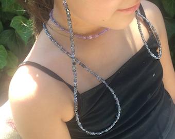 Grey & Black Beaded Eyeglass Holder, Eyeglass Chain, Handmade To Order, Eyeglass Lanyard, Sunglass Chain, Reading Glasses, Gifts for Her