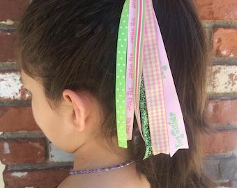 Big Sister Ponytail Streamer, Hair Streamer, Ribbon Streamer, Ponytail Holder, Handmade Accessories, Hair Tie Elastic, Hair Accessories