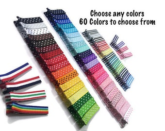 50 Stripes & Dots Lined Alligator Clips, Lined Hair Clips, No Slip Hair Clips, Partially, Fully Lined, Single, Double Prong, Ribbon Covered