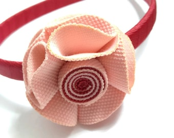 Scarlet Rose Hair Flower Headband, Handmade To Order, Wrapped Headband, Red Pink Flower, Red Headband, Girls Accessories, Gifts for Her