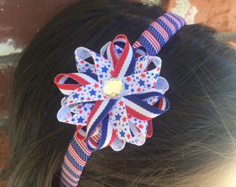 Stars & Stripes Hair Bow Headband, Independence Day Bow, Wrapped Headband, Handmade To Order, Red White Blue Bow, Handmade Hair Bow