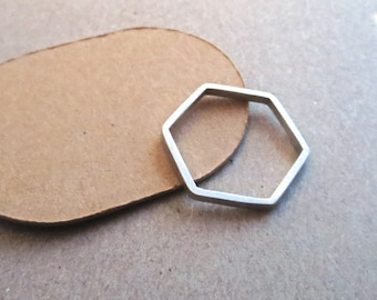 Hexagonal Skinny Ring in Silver