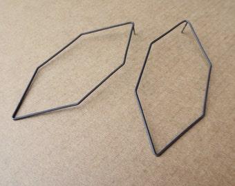 Silver Diamond Hexagonal Post Earrings