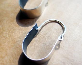 Inversion Silver Ovoid Loop Earrings 2